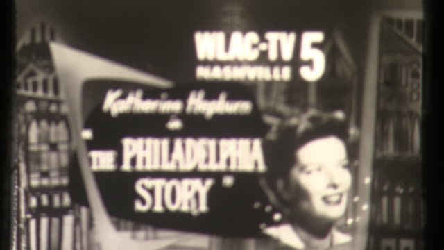 nashville ad for philadelphie story and million dollar movie katherine hepburn - philadelphie stock videos & royalty-free footage