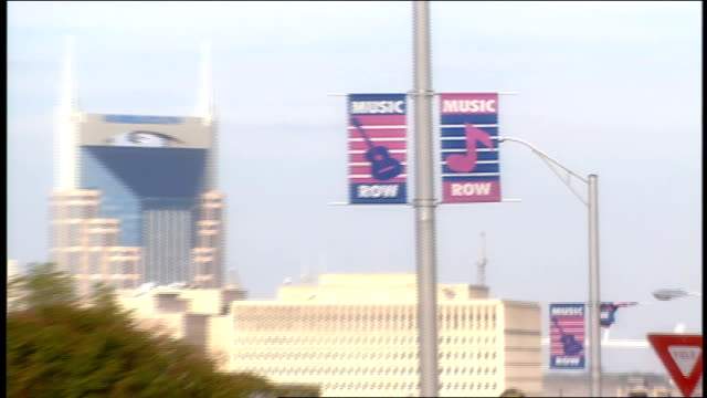 nashville skyline and intersection on music row - tennessee stock videos & royalty-free footage