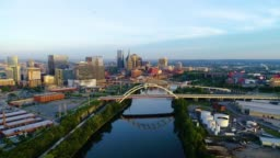 Nashville Tennessee Skyline and Cumberland River Aerial