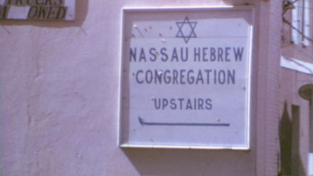 Nassau Sign / Downtown Streets / Nassau Hebrew Congregation Signage / Downtown Bahamas on August 02 1972 in Nassau Bahamas
