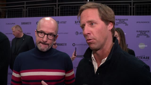 "interview nat faxon jim rash on the plot working with will at the ""downhill"" sundance premiere presented by searchlight pictures sundance film... - sundance film festival stock videos & royalty-free footage"
