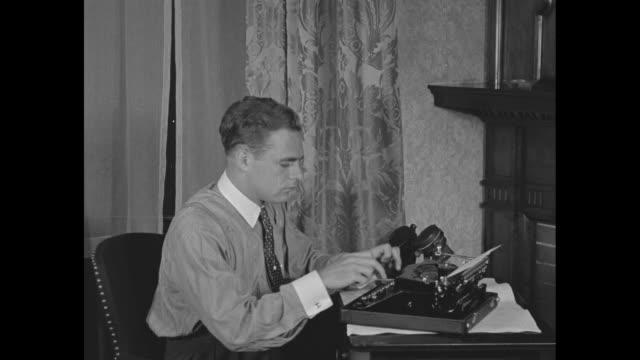 CU Cincinnati Reds pitcher Johnny Vander Meer wearing street clothes / VS Vander Meer types on typewriter using twofinger method and talks on...