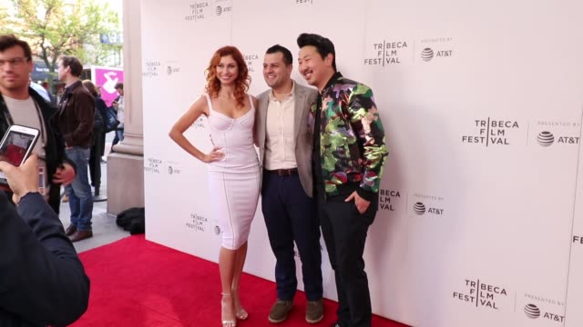Natacha Bachour Ali K Rizvi and Andrew Ahn attend the Driveways screening during the 2019 Tribeca Film Festival at Village East Cinema on April 30...