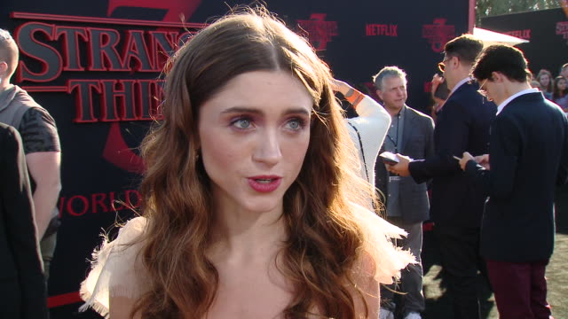 """natalia dyer on how it felt to reunite with the cast to film this season at the """"stranger things"""" season 3 world premiere in los angeles, ca 6/28/19 - season stock videos & royalty-free footage"""