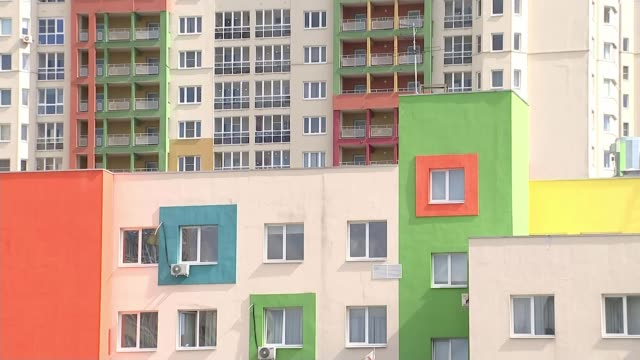 nizhny novgorod ext various shots colourful highrise tower blocks - blocking stock videos and b-roll footage