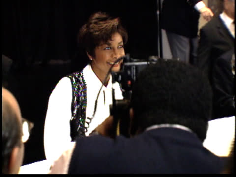 natalie cole talks to reporters and poses for photographs - friars roast 1993 stock videos and b-roll footage