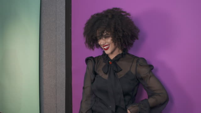 natalie emmanuel poses in the studio during the mtv emas 2017 held at the sse arena, wembley on november 12, 2017 in london, england. - mtv europe music awards stock videos & royalty-free footage