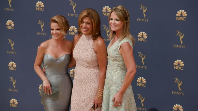 natalie morales, hoda kotb and savannah guthrie at the 70th emmy awards - arrivals at microsoft theater on september 17, 2018 in los angeles,... - savannah guthrie stock videos & royalty-free footage