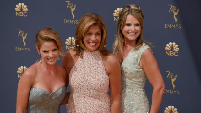 natalie morales hoda kotb and savannah guthrie at the 70th emmy awards arrivals at microsoft theater on september 17 2018 in los angeles california - emmy awards stock videos & royalty-free footage