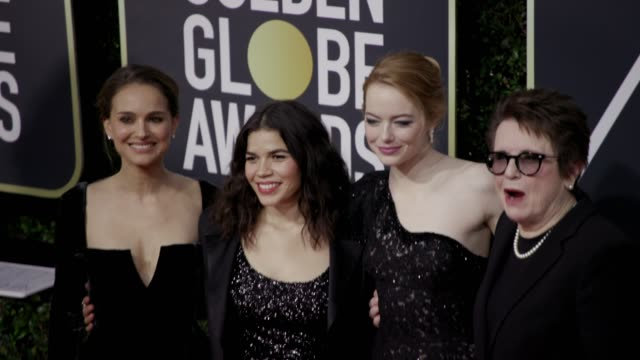 natalie portman american ferrera emma stone and billie jean king at the 75th annual golden globe awards at the beverly hilton hotel on january 07... - golden globe awards stock-videos und b-roll-filmmaterial