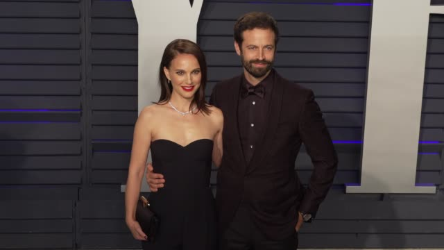 natalie portman and benjamin millepied at 2019 vanity fair oscar party hosted by radhika jones at wallis annenberg center for the performing arts on... - vanity stock videos & royalty-free footage