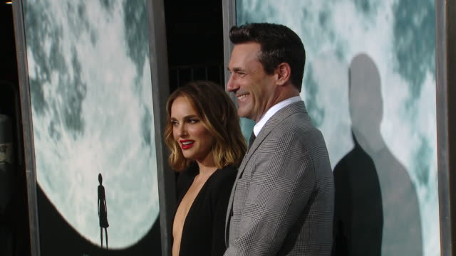 """natalie portman jon hamm at the """"lucy in the sky"""" los angeles premiere presented by fox searchlight pictures in los angeles ca - fox searchlight pictures stock videos & royalty-free footage"""