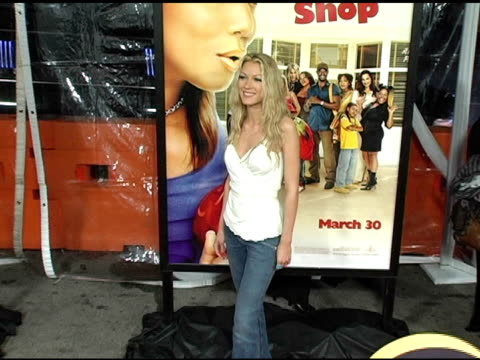natalie zea at the 'beauty shop' world premiere at the mann national theatre in westwood, california on march 24, 2005. - mann national theater video stock e b–roll