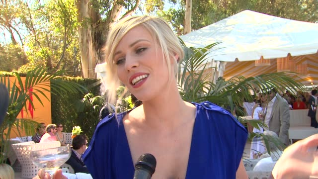 natasha bedingfield on if she's enjoyed a flute of veuve clicquot yet if she's ever participated in the stomping of the divots what she's wearing... - natasha bedingfield stock videos & royalty-free footage