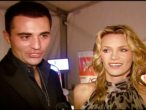 natasha henstridge and darius dannish on modeling in the show on the scottish theme of the evening on wearing a kilt on fashion week in la at the... - dressed to kilt stock videos & royalty-free footage