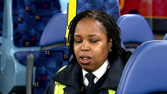 natasha lambert named london's best bus driver england london int natasha lambert getting into cab of bus with voiceover of her saying how much she... - 環境メディア賞点の映像素材/bロール