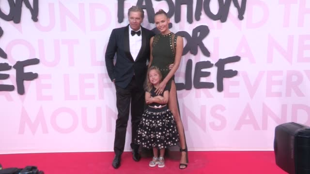 natasha poly with husband and daughter at 2018 fashion for relief photocall in cannes during the 2018 cannes film festival cannes france 13th may 2018 - 71st international cannes film festival stock videos & royalty-free footage