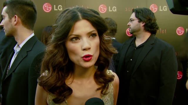vídeos y material grabado en eventos de stock de natassia malthe on her character and on what attracted her to this role at the lg electronics' launch of the scarlet hd tv series at the pacific... - pacific design center