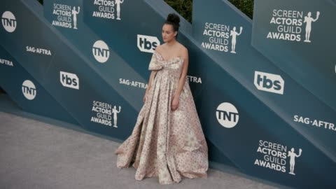 nathalie emmanuel at the 26th annual screen actorsguild awards - arrivals at the shrine auditorium on january 19, 2020 in los angeles, california. - screen actors guild stock videos & royalty-free footage