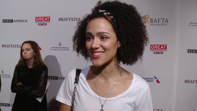 interview nathalie emmanuel on being at the event and on her picks for awards season at the bafta los angeles awards season tea party at four seasons... - tea party stock videos and b-roll footage