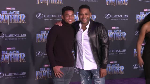 Nathan Anderson and Anthony Anderson at the Marvel Studios' 'Black Panther' World Premiere at Dolby Theatre on January 29 2018 in Hollywood California