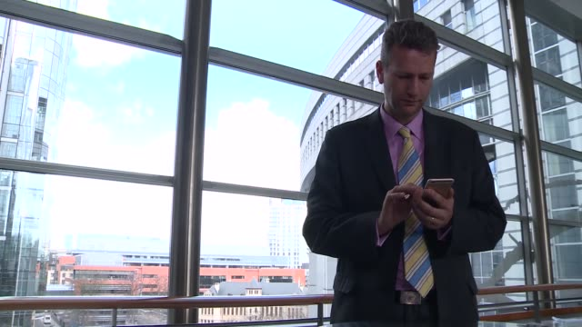 wales cardiff welsh assembly int nathan gill ukip using mobile phone / gill along central atrium area / nathan gill photyocall with others including... - gill stock videos & royalty-free footage