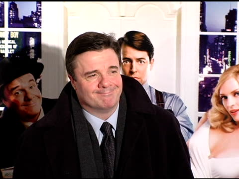 nathan lane at the new york premiere of 'the producers' at the ziegfeld theatre in new york, new york on december 4, 2005. - nathan lane stock videos & royalty-free footage