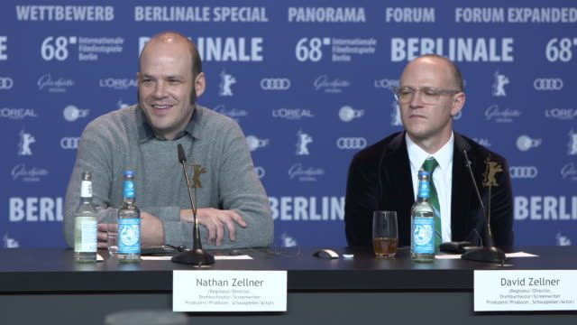 INTERVIEW Nathan Zellner and David Zellner answer a question a centre aligning shots at 68th Berlin Film Festival 'Damsel' Press Conference at Grand...