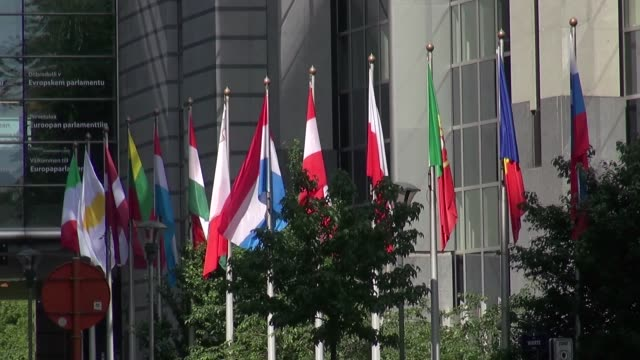 nation state flags in front european parliament - french flag stock videos & royalty-free footage