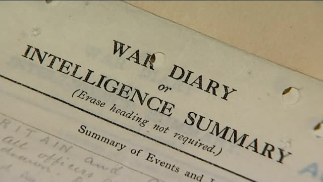 national archives publishes wwi diaries england london kew national archives int close shot heading 'war diary or intelligence summary' on manuscript... - manuscript stock videos and b-roll footage
