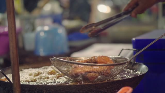 national asian street food: fried chicken - market stall stock videos & royalty-free footage