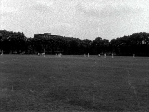 national book league v authors; england: london: westminster: ext spectators / various shots members of the two cricket teams / wide shot cricket... - batsman stock videos & royalty-free footage