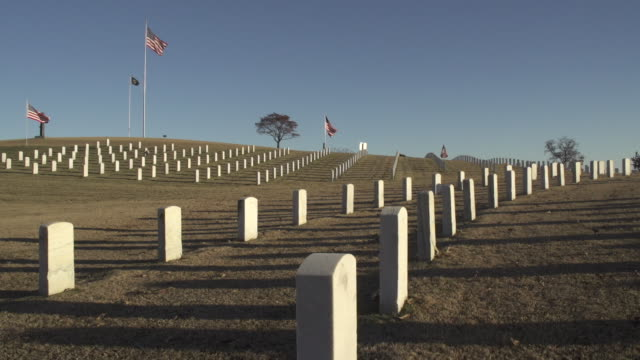 national cemetery and flag - chattanooga stock videos and b-roll footage
