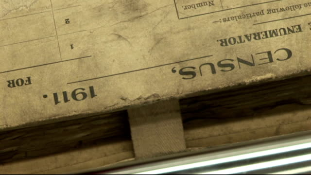 national census could be scrapped after 200 years; england: london: int close shot of 1911 census document volumes on shelf in archive close shot of... - 国勢調査点の映像素材/bロール