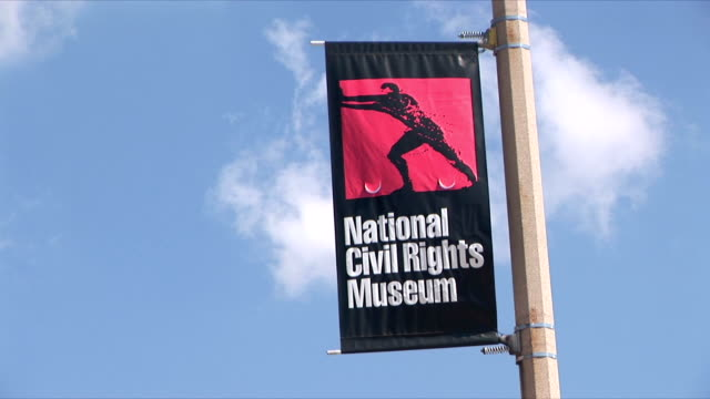 CU National Civil Rights Museum sign on lamp post, Memphis, Tennessee, USA