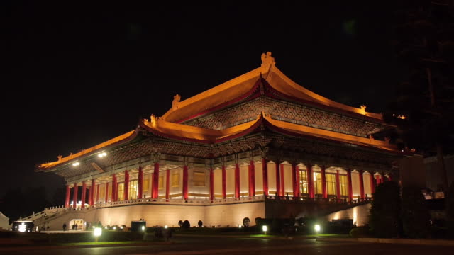 vídeos de stock e filmes b-roll de national concert hall at night, taipei, taiwan - teatro nacional de taipé