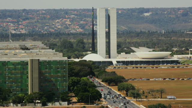 t/l, ws, ha, national congress building and busy street, brasilia, brazil - congress stock videos & royalty-free footage