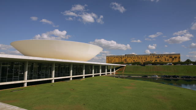 t/l, ms, national congress building, brasilia, brazil - brasilia stock videos and b-roll footage