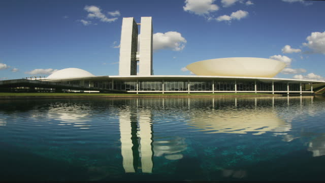 t/l, ws, fish eye, national congress building, brasilia, brazil - brasilia stock videos and b-roll footage