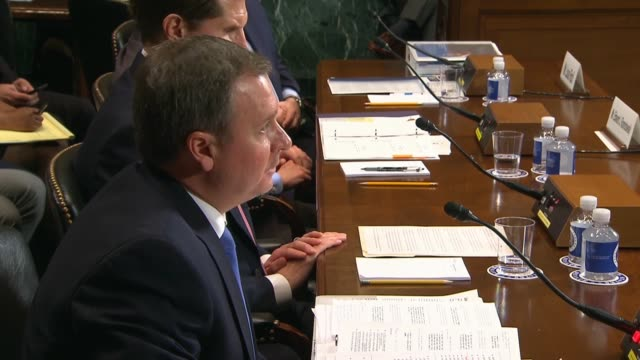 national counterintelligence and security center assistant director joseph morosco tells a senate judiciary subcommittee at a hearing on visa abuse... - senate judiciary committee stock videos & royalty-free footage