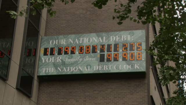MS National Debt Clock - running total dot-matrix display showing current United States gross national debt, Sixth Avenue, Manhattan / New York City, New York, USA