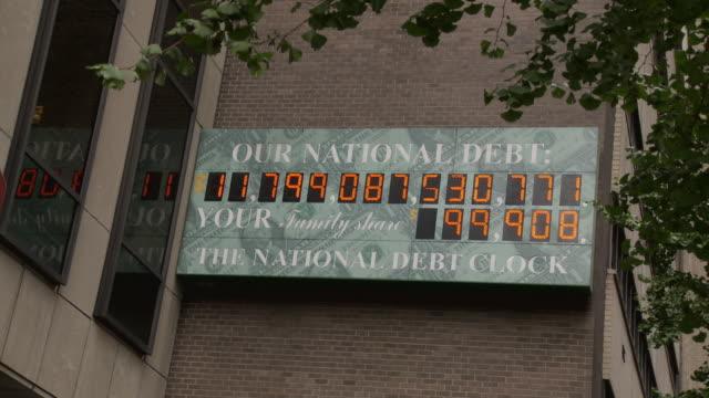 ms national debt clock - running total dot-matrix display showing current united states gross national debt, sixth avenue, manhattan / new york city, new york, usa - statsskuldklockan bildbanksvideor och videomaterial från bakom kulisserna