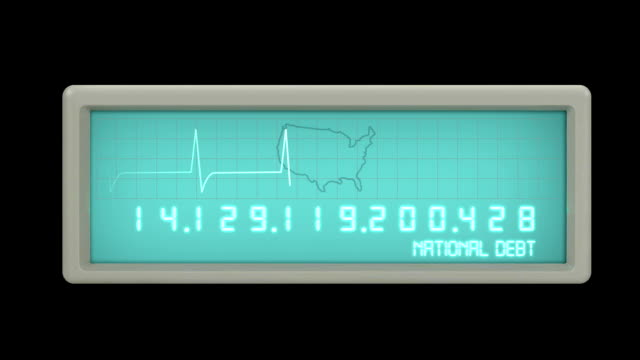 stockvideo's en b-roll-footage met national debt counter ekg - nationaal monument beroemde plaats