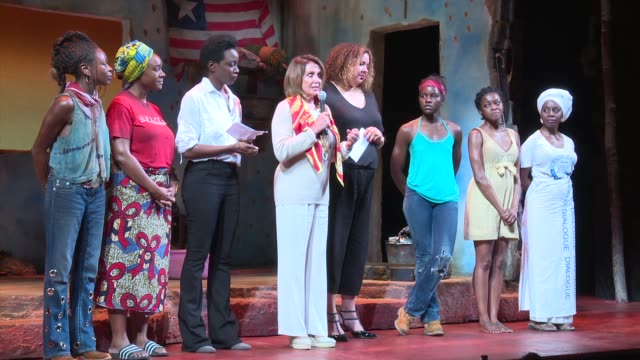 clean national democratic leader nancy pelosi joins company of broadway's eclipsed for special dedication on june 05 2016 in new york city - saycon sengbloh stock videos and b-roll footage