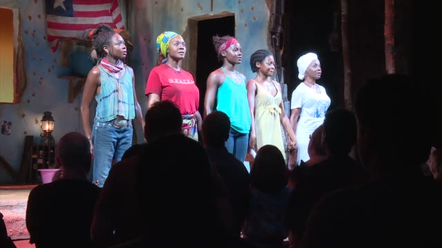 chyron national democratic leader nancy pelosi joins company of broadway's eclipsed for special dedication on june 05 2016 in new york city - saycon sengbloh stock videos and b-roll footage