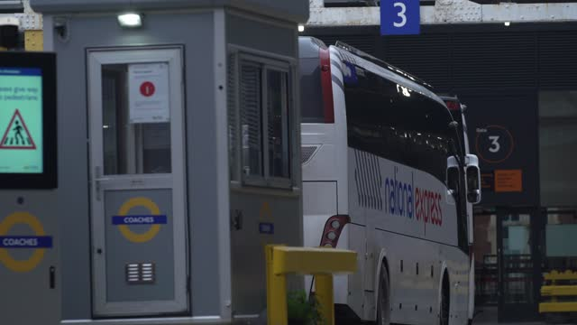 national express buses sit in the departure section of victoria coach station on january 10, 2021 in london, england. transport company's national... - sitting stock videos & royalty-free footage