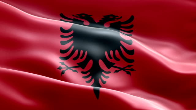 Nationalflagge Albanien winken Endlos wiederholbar Anordnungselemente