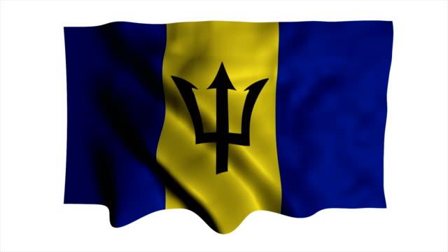 vídeos de stock, filmes e b-roll de bandeira nacional de barbados - elemento de desenho