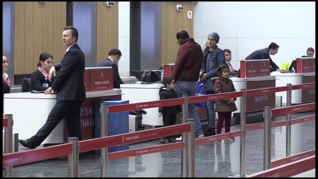 vídeos de stock, filmes e b-roll de national flag carrier turkish airlines' first flight from istanbul airport to azerbaijan's capital baku departed on november 08, 2018.the tk 1132... - number 9