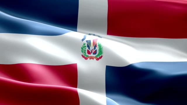 ドミニカ共和国の国旗を振るパターン ループ可能要素 - 繊維工業点の映像素材/bロール